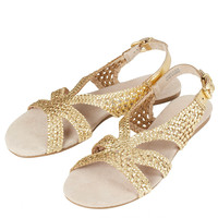 HINDERS Gold Woven Sandals - Flats - Shoes - Topshop USA