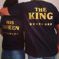 Kiwiqiwei Black Plus Size XXXL Lovers Harajuku Couple Hipster T shirt Tops The King His Queen Back Printed Tee shirts WMT309