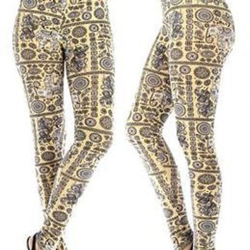 Plus Size Tribal Elephant Print Leggings 2XL/3XL