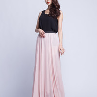 High Waist Bridal Skirt Chiffon Long Skirts Beautiful Elastic Waist Summer Skirt Floor Length Beach Skirt (101) ,25#