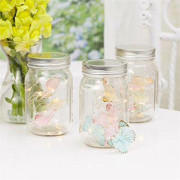 TWO'S COMPANY BUTTERFLY LED STRING LIGHTS IN JAR