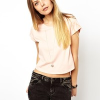 ASOS Crop T-Shirt with Roll Sleeve - Rose pink