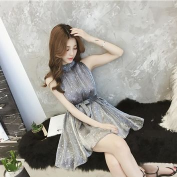 Starry Women Lace Dress Summer Lovely Elegant Party Dresses For Female Slim Plus Size Sleeveless Cute Ladies Mini Casual Dress