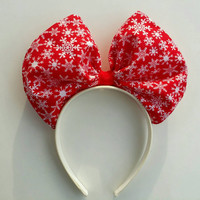 Minnie Mouse Bow Headband in Christmas snowflake pattern