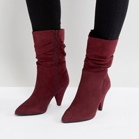 New Look Wide Fit Rouche Mid Calf Heeled Boot at asos.com