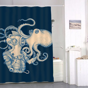 Deep Sea Discovery Octopus special custom shower curtains that will make your bathroom adorable