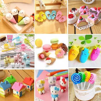 Kinds Of Eraser Rubber Stationery New Cake Macaron Tooth Lollipop Slippers Cream Creative Cute School Supplies For Kids H1069