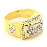 MEN'S ICED OUT HIP HOP LAB DIAMOND MIGOS BRASS RING SIZE 8-12 BR001G