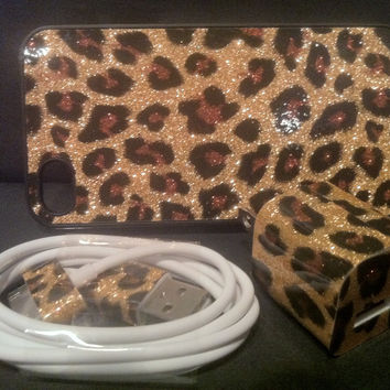 Leopard GLITTER iPhone 4 CHARGER and matching by PhunkeeTree