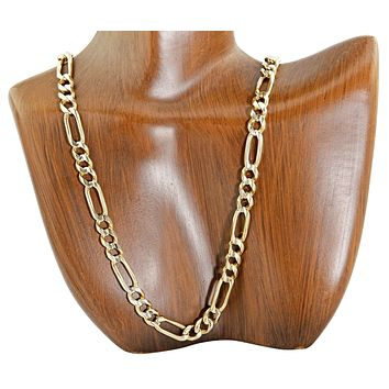 Men's Thick 6.75 mm Heavy Figaro Link Chain 14k SOLID Yellow Gold