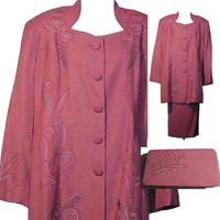 Dusty Rose Skirt Suit with Matching Clutch Handbag by Stella Louise for KB Women's Plus Size Clothing - Size XLarge (US SZ 20)