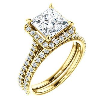 Princess/Square Moissanite Diamond Accent Ice Halo Bezel Ring