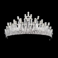 Silver Color Large Vintage Rhinestone Crystal Bridal Tiara Crown Pageant Cosplay
