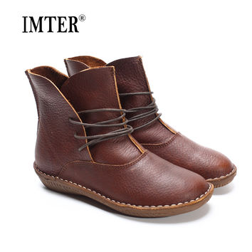(35-41)Women Boots Genuine Leather Shoes Brown/Black Flat Ankle Boots Round toe lace up Spring/Autumn Shoes Brand Designer(506)
