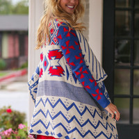 What a Girl Wants Cardigan - Blue and Red