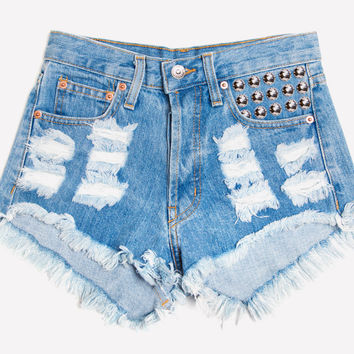 450 Stone Studded Distressed Shorts