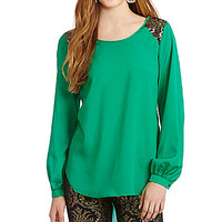 GB Long Sleeve Sequin Shoulder Tunic