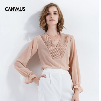 Chiffon Blouse Shirt Women V-Neck Pleated Long Sleeve Solid Raised Stripe OL Fashion Casual Female Elegant Gray Pink White Top