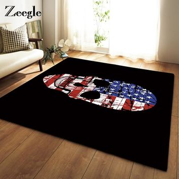 Skull Print Large Size Carpet For Living Room Home Decor