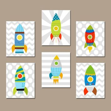 Space ROCKET Wall Art, Rocket Decor, Outer Space Decor, Outer Space Theme, Big Boy Room Pictures, Rockets CANVAS or Prints Set of 6 Artwork