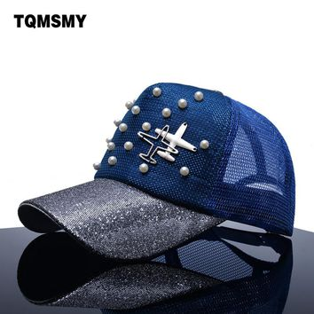 TQMSMY Brand Snapback Baseball caps Women sun hat aircraft mesh Hip hop cap Summer gorras Pearl sequin bone Visor hats for women