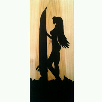 Silhouette Surfer Girl Painting, Beach Themed Home Decor, Rustic Art, Upcycled Wood Wall Art, Valentines Day Gift,  Beach Room Decor