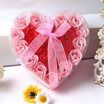 Heart-shaped PVC box + Ribbon Butterfly Festival creative Valentine's Day gifts 24 roses soap flower gift box