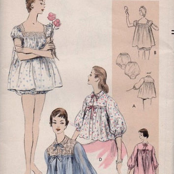 Vogue 8446 Sewing Pattern Vintage 1950s Bed Jacket Bloomers Panties Lingerie Negligee Pajamas Housecoat Baby Doll PJs Uncut Size M Bust 34