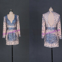 2014 short chiffon prom dresses with rhinestones,sexy long sleeves gowns for holiday party,cheap beaded women dress in pearl pink hot.