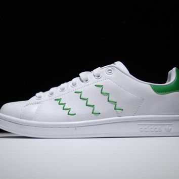 Adidas Originals Stan Smith Shoes Design Green Yarn-embroidered zigzag 3-Stripes