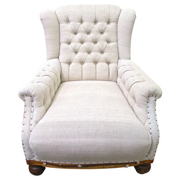 Deconstructed French Linen Club Chair