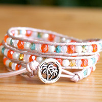 Tropical Beaded leather wrap bracelet Orange white opal pearl Bohemian boho palm tree, trendy jewelry, hipster, gift idea by OlenaDesigns