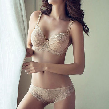 Sexy Lace Hollow Solid Color Strap Underwear Lingerie Set
