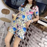 """Gucci"" Woman's Leisure  Fashion Letter Flower Printing Short Sleeve Shorts Two-Piece Set Casual Wear"