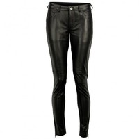 VIPARO | Black Fitted Matte Lambskin Leather Pants - Kiara
