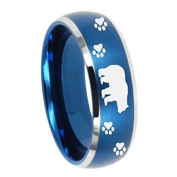 10mm Bear and Paw Dome Brushed Blue 2 Tone Tungsten Carbide Wedding Band Ring