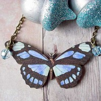Blue and Black Butterfly Necklace Moth Pendant