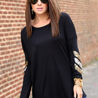 Sequin Chevron Tunic {Black}