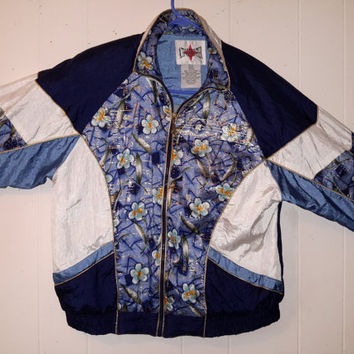 Vtg 90s Gold Floral Windbreaker Geometric Print Jacket Sz Medium Petite Track Jacket