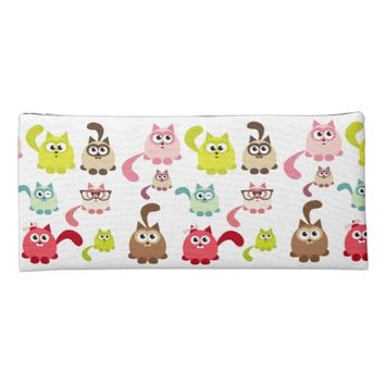 Cute,cats,pattern,colorful,girly,kids,fun,happy,mo Pencil Case
