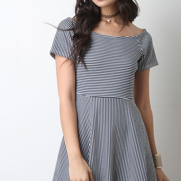 Textured Stripe Short Sleeve Skater Dress