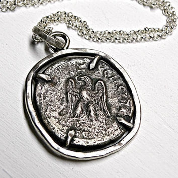 big Roman coin pendant, ancient coin necklace, rustic mens pendant coin, authentic Roman Empire coin, antique eagle coin Philip II necklace