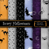 "Digital Paper Set for Scrapbooking ""Scary Halloween"""
