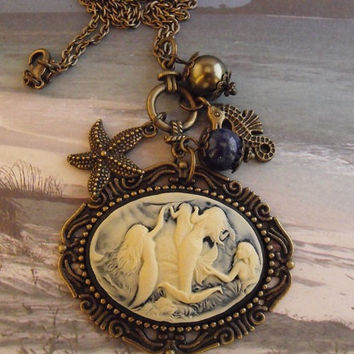 Mermaid Cameo Necklace Nautical Womens with Pearls by agothshop