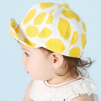 Fashion Lemon Print Children Hats Cute Cotton Baby Hat Summer Caps for Girls Boys with Soft Brim for 6-18 Months