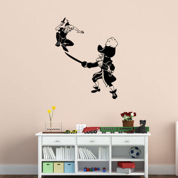 Peter Pan and Captain Hook Decal Never Land Decal  Peter Pan Decor Children Decor Nursery Decor Boys Room Girls Room,