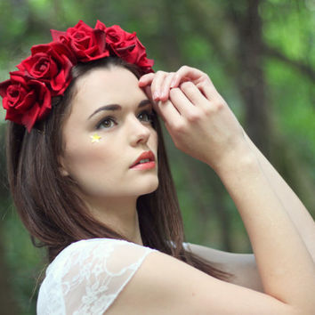 Deep red  flower hairband, flower crown, rose hairpiece, festival flowers