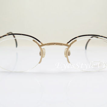 CAZAL 773 , New Old Stock , Vintage , Semi-Rimless , Oval , Gold And Brown , Eyeglasses , Sunglasses , Frames