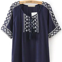 Navy Knotted Collar Tribal Embroidered Blouse -SheIn(Sheinside)