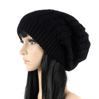 Fashion Women Casual Beanies Skullies,5 Colors Warm Stripes Knitted Gorros Bonnet Femme,Autumn Winter Hat Cap For Girls #HC20050